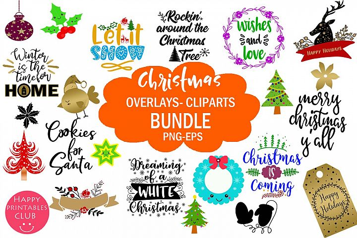 Christmas Overlays-Clipart Bundle-Holiday Overlays Bundle