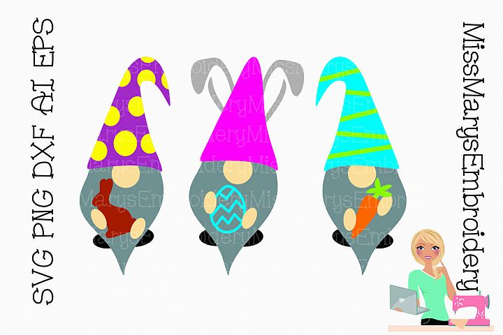 Easter Gnomes SVG Cutting File PNG DXF AI EPS