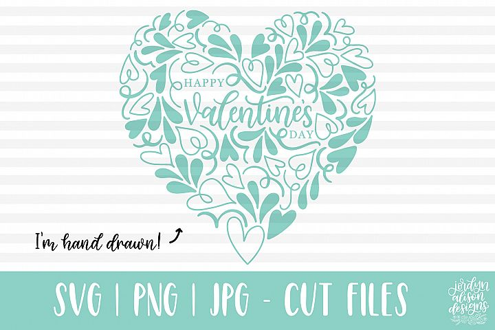 Happy Valentines Day, Heart Shape, Hand Drawn SVG Cut File