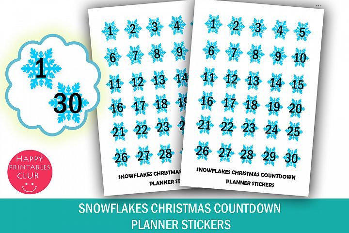 Snowflakes Christmas Countdown Planner Stickers-30 Days Xmas