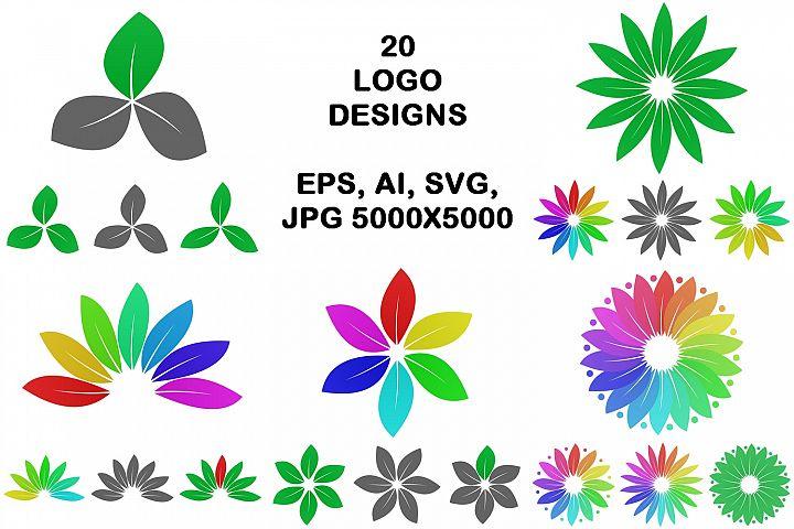 20 floral leaf logo designs (EPS, AI, SVG, JPG 5000x5000)