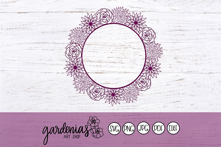 Flower Wreath SVG | Flower Frame Cut Files