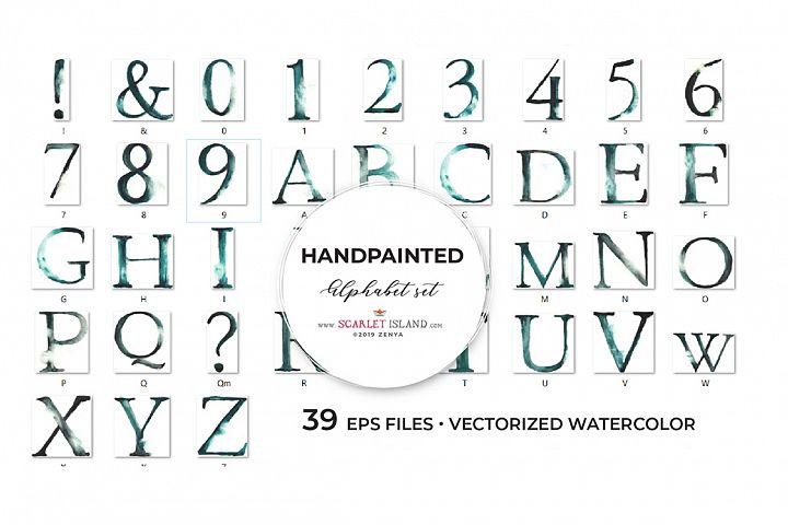 EPS Watercolour Alphabet Grey I