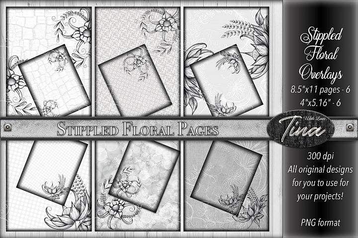 Gray Stippled Floral Pages and Cards Grey Black White