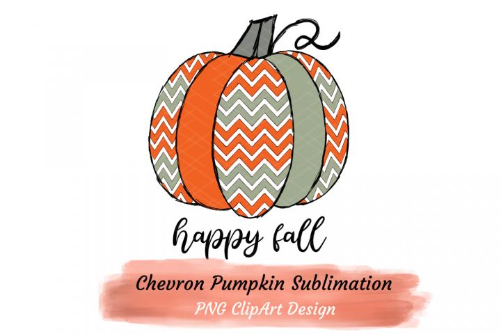 Happy Fall Pumpkin Sublimation Orange Teal Chevrons Zigzag