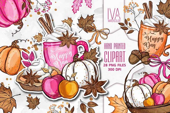 Thanksgiving Clipart, Fall Autumn Pumpkin Apple Clipart