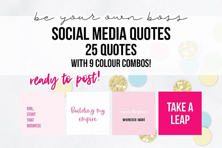 25 x Pink Be Your Own Boss Social Media Quotes