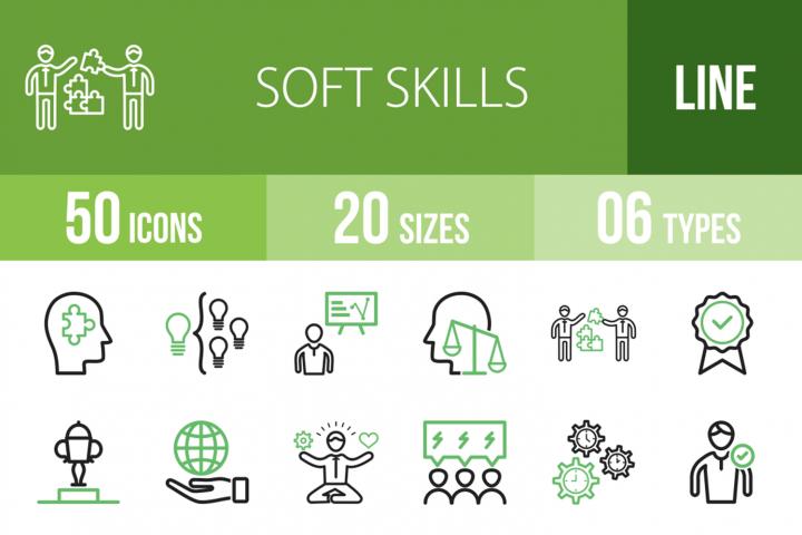 50 Soft Skills Line Green & Black Icons