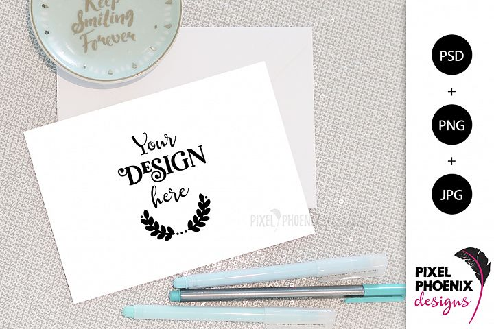 Invitation Mockup with mint accents