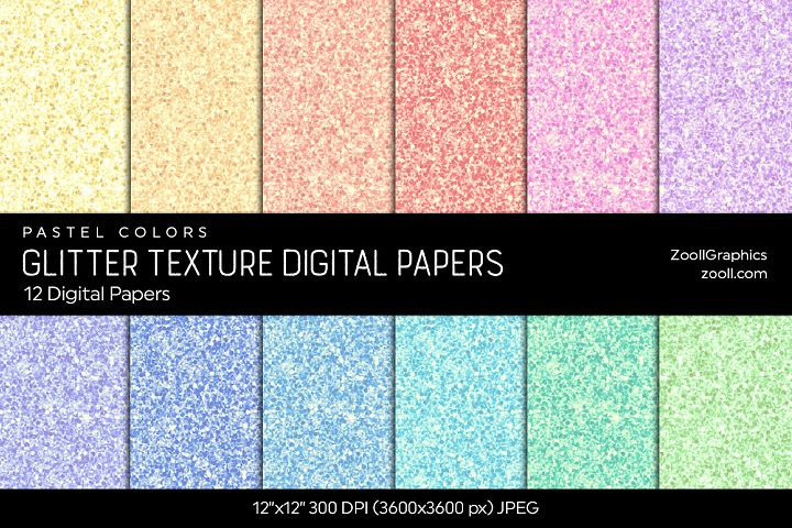 Glitter Digital Papers Pastel Colors