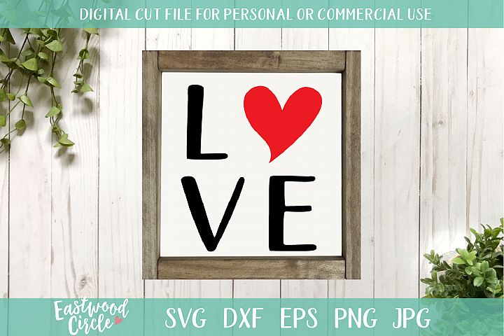 Love with Heart - A Valentines SVG Cut File