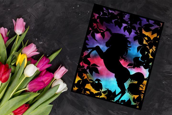 Unicorn Paper cut Template