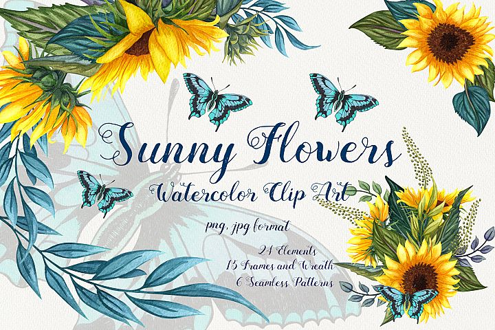 Sunny Flowers Watercolor Clip ARt