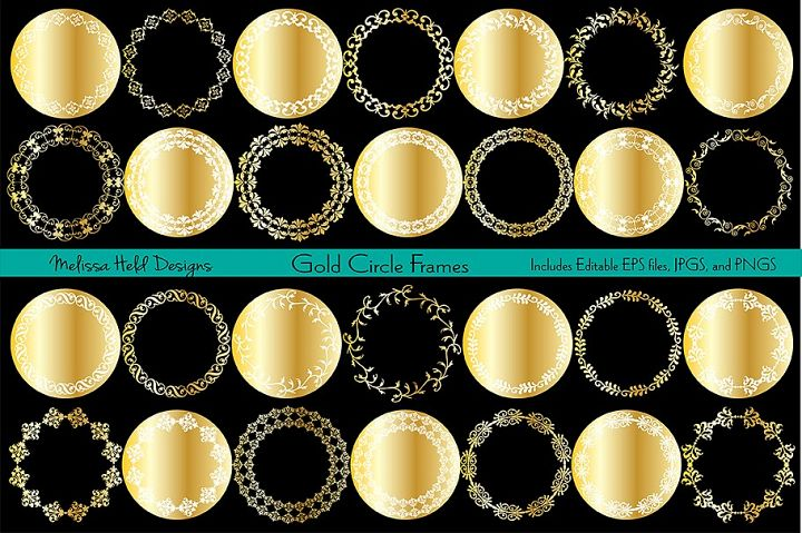 Gold Ornate Circle Frames