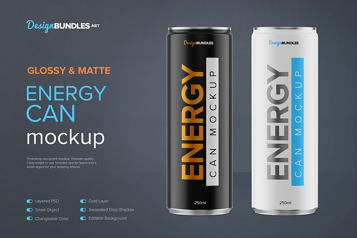 250ml Energy Drink Can Mockup