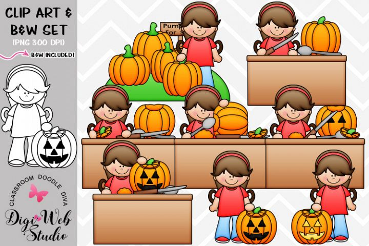 Clip Art / Illustrations - Hannah Carves A Pumpkin