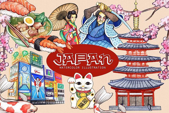 Japan Travel Watercolor cliparts