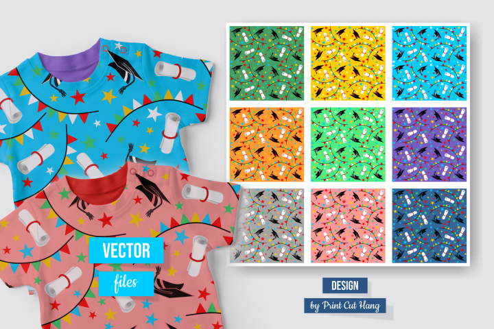 Colorful Graduation Repeating Patterns Ai, CDR, SVG, EPS