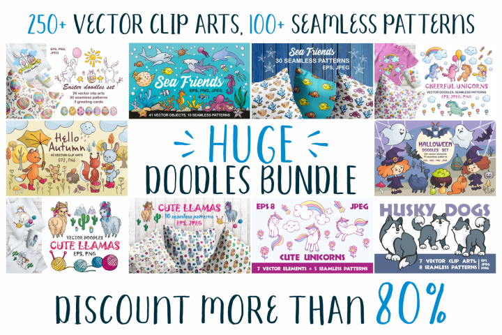 Huge doodles bundle. Vector clip arts and seamless patterns