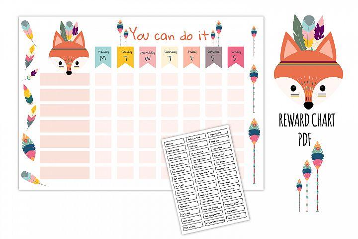 Fox reward chart, Cute tribal graphic, Kids daily routine