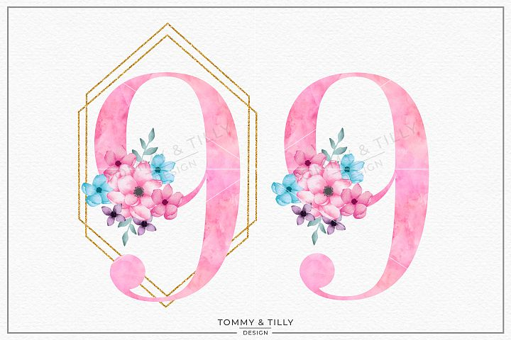 Nine Pink Bouquet Birthday Number - Sublimation PNG Clipart