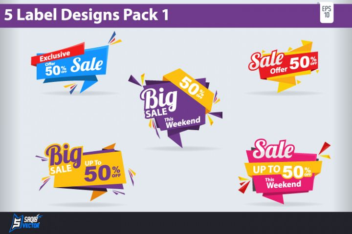 5 Big Sale Label Design Pack Vector
