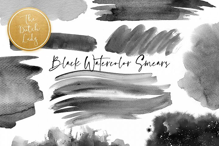 Black Watercolor Smear Clipart Set