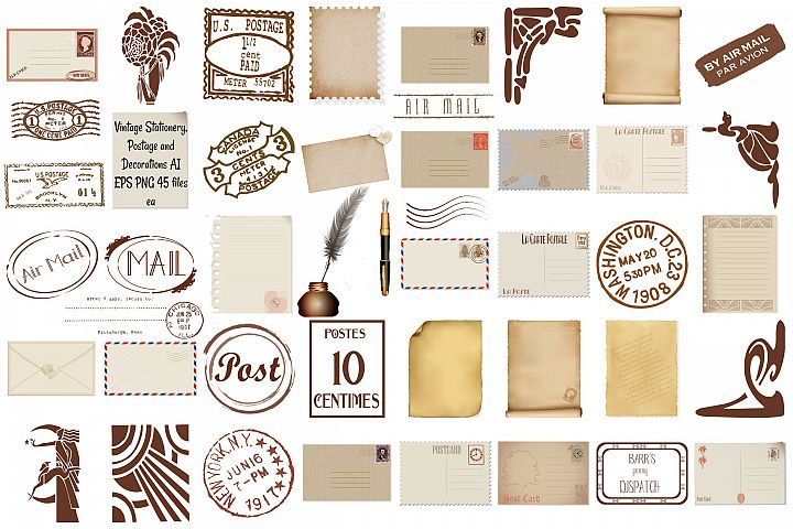 Vintage Stationery, Postage and Elements AI EPS PNG