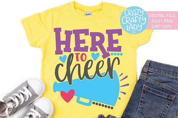 Here to Cheer Cheerleader Sports SVG DXF EPS PNG Cut File