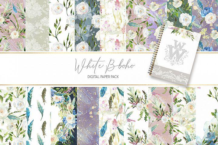 Watercolor seamless white flower paper boho wedding backdrop