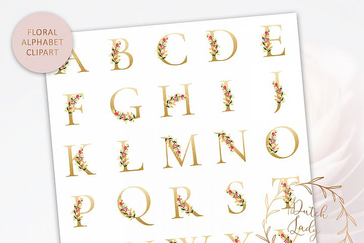 Floral Alphabet & Number Clipart Set #2