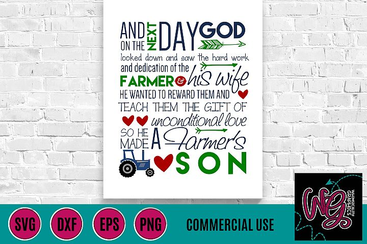 Farmers Son Saying SVG DXF PNG EPS Comm