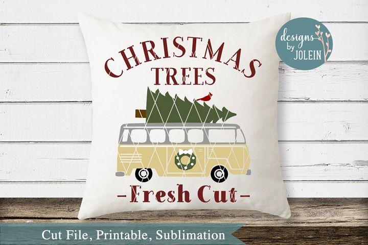 Vintage Bus Christmas Design SVG, png, eps, DXF, sublimation