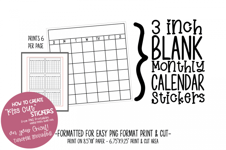 Printable Stickers Set - 6 mini blank calendar stickers