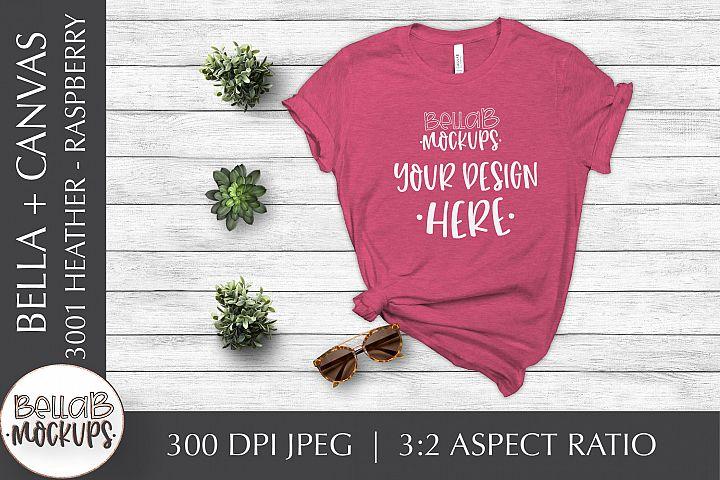 Bella Canvas 3001 Heather Womans T Shirt Mockup, Raspberry