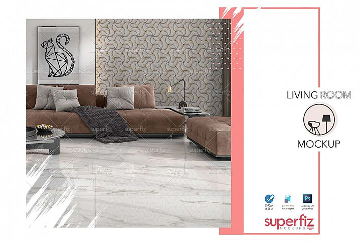 Blank Floor and Wall PSD Mockup Livingroom SM75