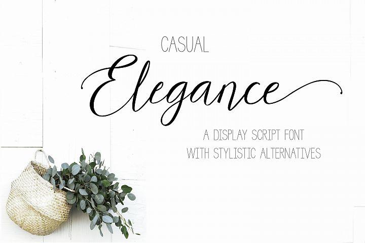 Casual Elegance a display script typeface font stylistic alt