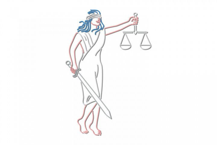 Lady Justice Holding Sword and Balance Neon Sign