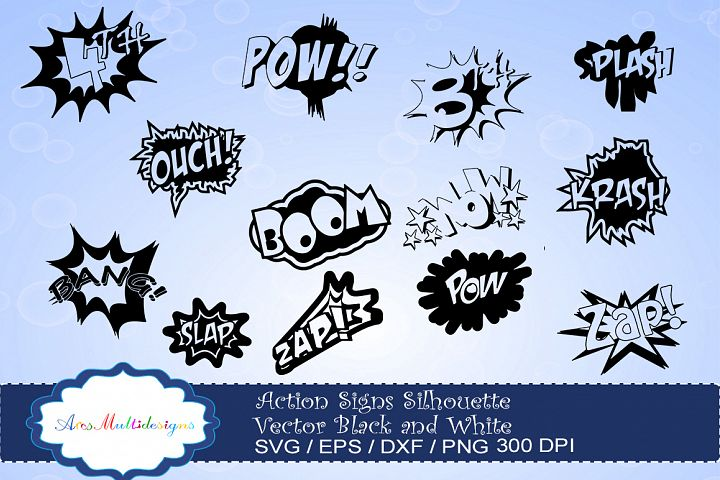 action signs svg vector silhouette / action sign svg clipart / zap clipart / bang clipart / pow clipart / boom clipart /pop art / comic chat icon