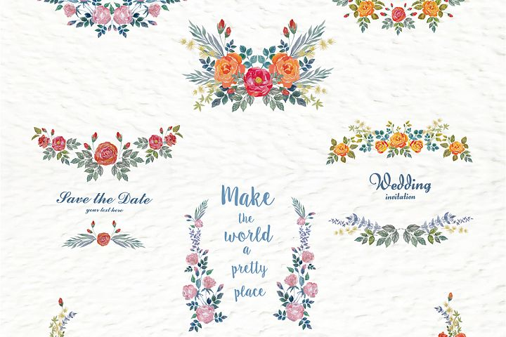 Set of watercolor design elements: rose flowers, plants, butterflies, seamless patterns, splashes.  - Free Design of The Week Design 4