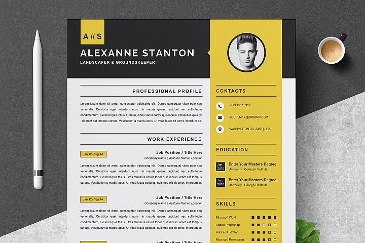 Resume Template / CV Design Template | MS Word | Apple Pages