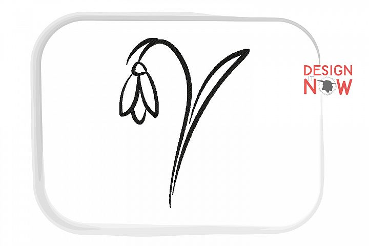 Flower Embroidery Design, Line Art Botanical Embroidery example image 2