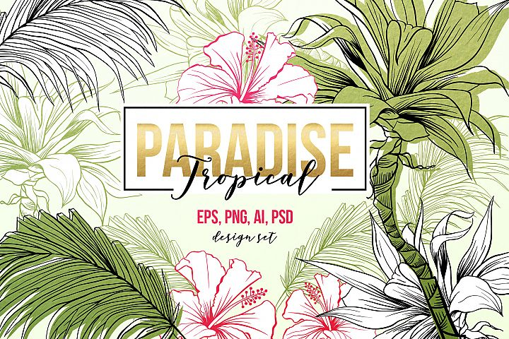 Tropical Paradise - design set with patterns and SVG