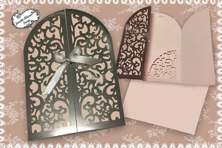 Lacey Gate fold card with matching topper and envelope