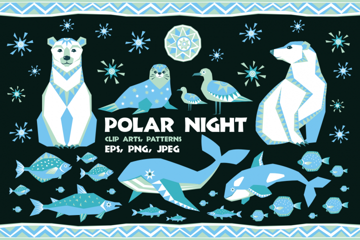 Polar night. Vector cliparts and seamless patterns in ethnic