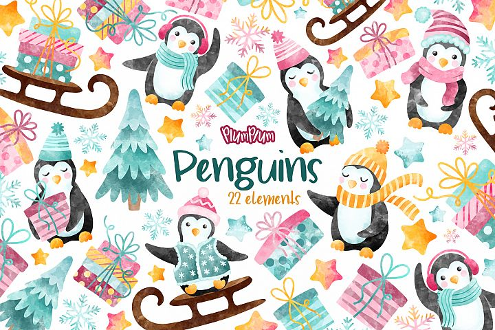 Cute Penguins Watercolor Cliparts