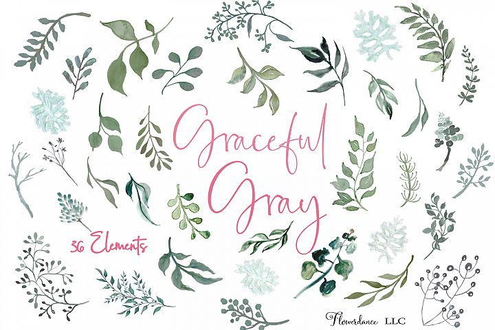 Watercolor Greenery Clipart in Silver Leaf and Gray Green