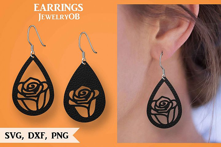 Rose Earring, Silhouette Cameo, Cricut, Cut, SVG DXF PNG