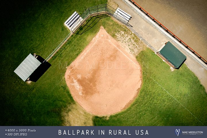 Ballpark in Rural USA, overhead view, stock photo