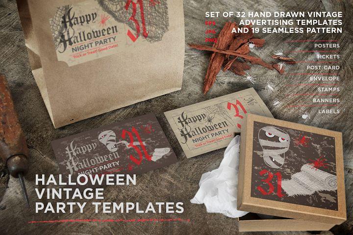 Halloween vintage party templates